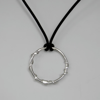 Silverl Ring on Leather Necklace