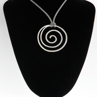Large Silver Spiral Necklace on Soft Grey Leather Artisan
