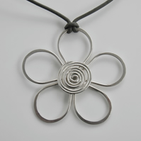 Sterling Silver Flower Necklace on Leather, Handcrafted Flower Pendant