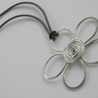 Silver Flower Necklace Handcrafted Flower Pendant