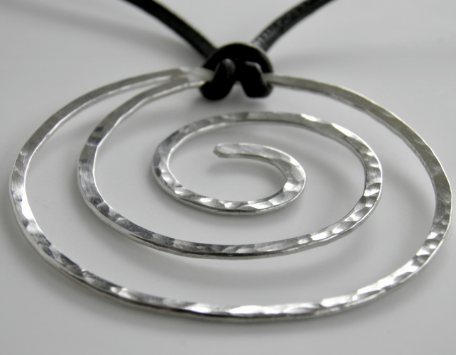 Large Sterling Silver Spiral Necklace on Leather Statement Necklace