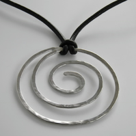Silver Spiral Necklace on Leather Sterling Silver
