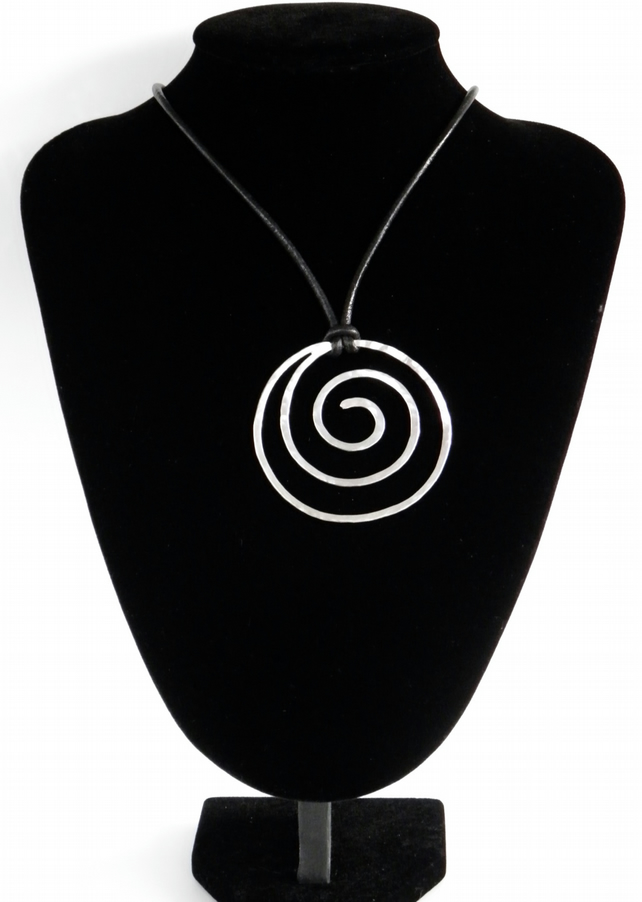 Large Handcrafted Spiral on Leather, Sterling Silver Statement