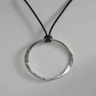 Silver Oval Ring on Leather Choker Hammered Sterling Silver