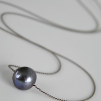 Pearl Necklace on Silk Tahitian Black Pearl