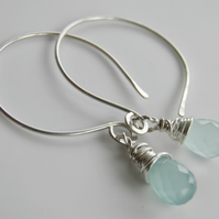 Aqua Chalcedony Gemstone Earrings Sterling Silver