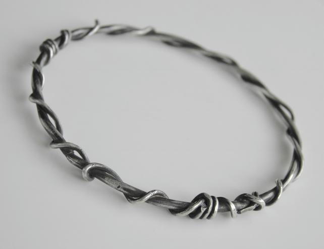 Sterling Silver Bangle Oxidised