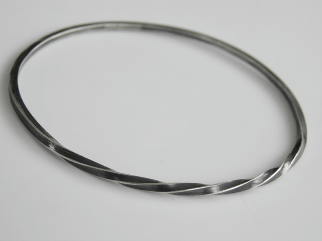 Sterling Silver Bangle Square Twisted Oxidised