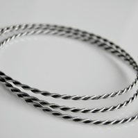 Sterling Silver Bangle Oxidised Plait