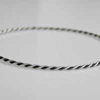 Twisted Wire Bangle Sterling Silver Oxidised