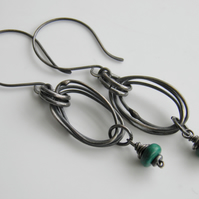 Chrysocolla Earrings Sterling Silver