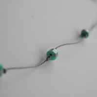 Turquoise Anklet on Silk
