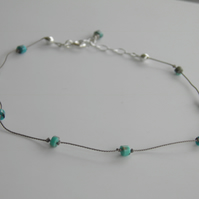 Silk Turquoise Ankle Bracelet