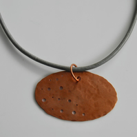 Copper Choker on Leather