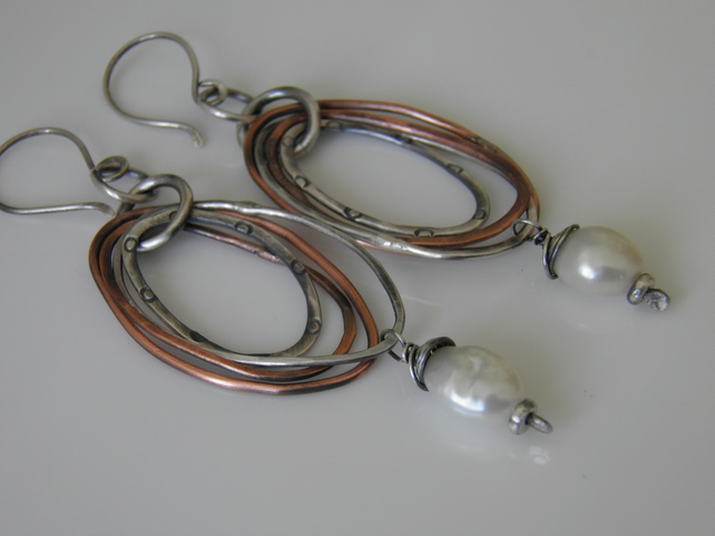 Pearl Earrings Sterling Silver & Copper