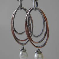 Silver Pearl Earrings with Copper