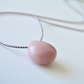 Pink Opal Necklace on Silk Minimalist Pink Heart Briolette Gemstone
