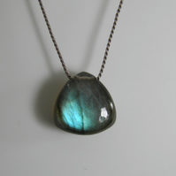 Labradorite Necklace Large Smooth Trillion Gemstone