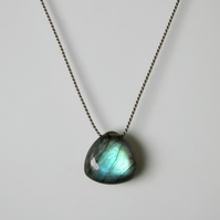 Labradorite Necklace Smooth Trillion Cut Gemstone