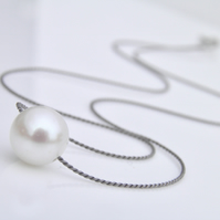 Pearl Necklace on Silk Large White Pearl