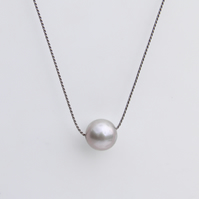 Pearl Necklace on Silk Large Silver Grey Pearl