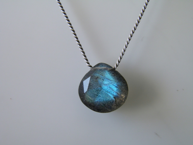 Labradorite Necklace Faceted Gemstone on Silk