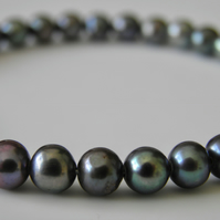 Black Pearl Bracelet with Sterling Silver Handcrafted Fastener