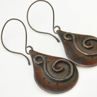 Copper Earrings Handcrafted Teadrop Swirl