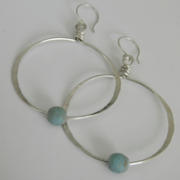 Blue Recycled Glass Sterling Silver Hoop Earrings