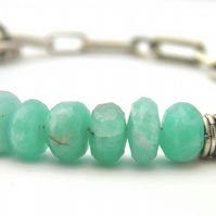 Amazonite Gemstone Bracelet in Sterling Silver