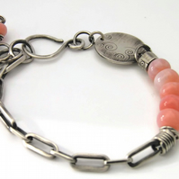 Sterling Silver Bracelet with Pink Opal Gemstone