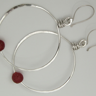 Red Earrings Sterling Silver Hoops