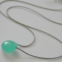 Aqua Chalcedony Silk Necklace