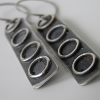 Sterling Silver Earrings Long Drop Oxidised