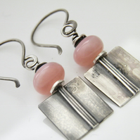 Pink Opal Earrings Sterling Silver Oxidised