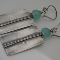 Aqua Blue Chalcedony Earrings Sterling Silver