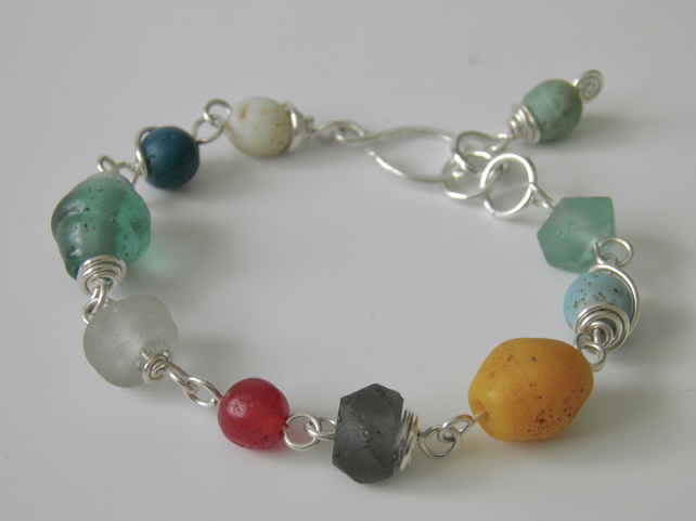 Recycled Glass Bracelet with Sterling Silver