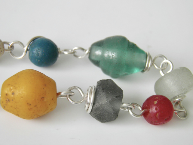 Sterling Silver Bracelet with Recycled Glass