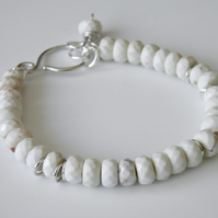 White Turquoise Gemstone Bracelet in Sterling Silver