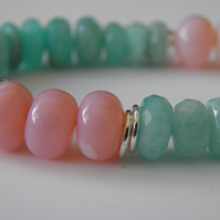 Amazonite Opal Gemstone Bracelet in Sterling Silver