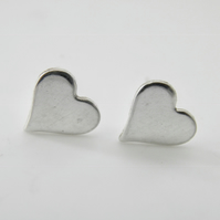 Small Sterling Silver Heart Post Earrings