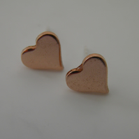 Small Copper Heart Post Earrings
