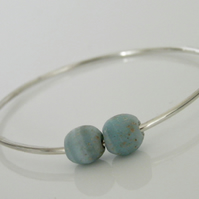 Sterling Silver Bangle Blue Beads