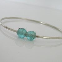 Sterling Silver Bangle Aqua Sea Glass