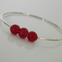 Sterling Silver Bangle Red Beads