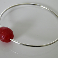 Sterling Silver Bangle Recycled Glass Bead