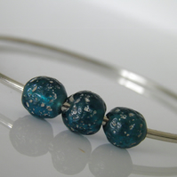 Glass Bead Sterling Silver Bangle