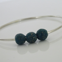 Sterling Silver Bangle with Glass Beads