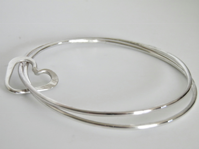 Sterling Silver Handcrafted Love Heart Bangle