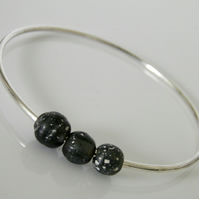 Sterling Silver Bangle Grey Beads